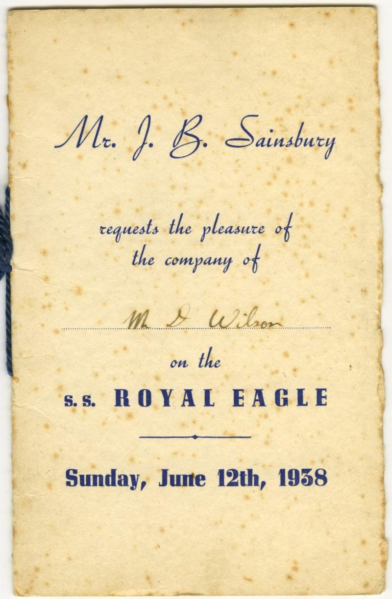 SA/EMP/SOC/1/3/1 - Invitation from Mr. J.B. Sainsbury to Mr. D. Wilson for staff trip on the s.s. Royal Eagle on 12 Jun 1938