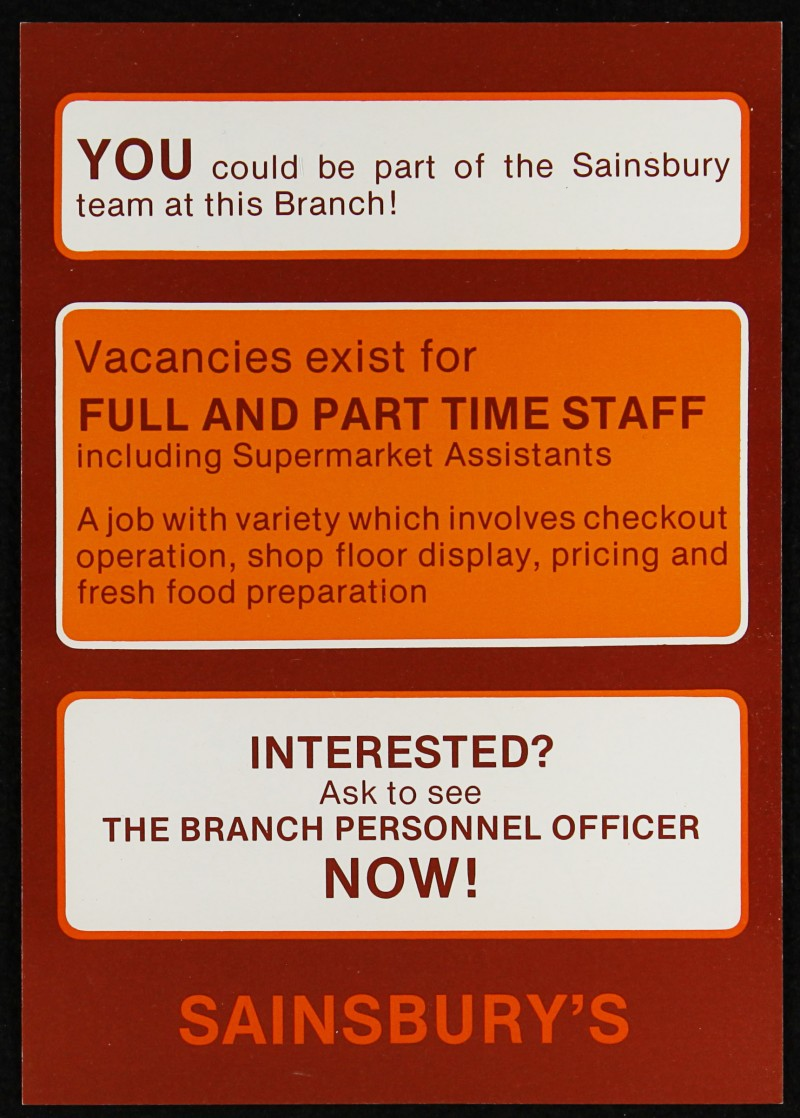 """SA/EMP/1/1/2/47 - """"YOU could be part of the Sainsbury team at this Branch!"""" flyer"""