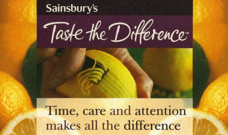 SA/LE/1/1/6 - Sainsbury's Taste the Difference: Time, care and attention makes all the difference' design