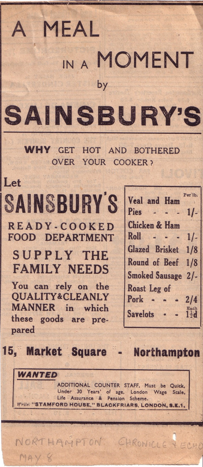 "SA/MARK/ADV/1/1/1/1/1/16 - ""A meal in a moment by Sainsbury's..."" newspaper advertisements, [c.1930s]"