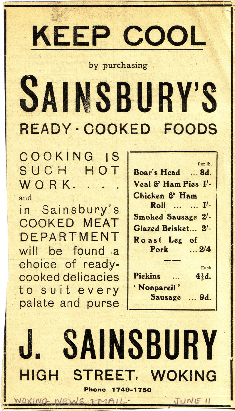 "SA/MARK/ADV/1/1/1/1/1/31 - ""Keep cool by purchasing Sainsbury's Ready-Cooked Foods..."" newspaper advertisements"