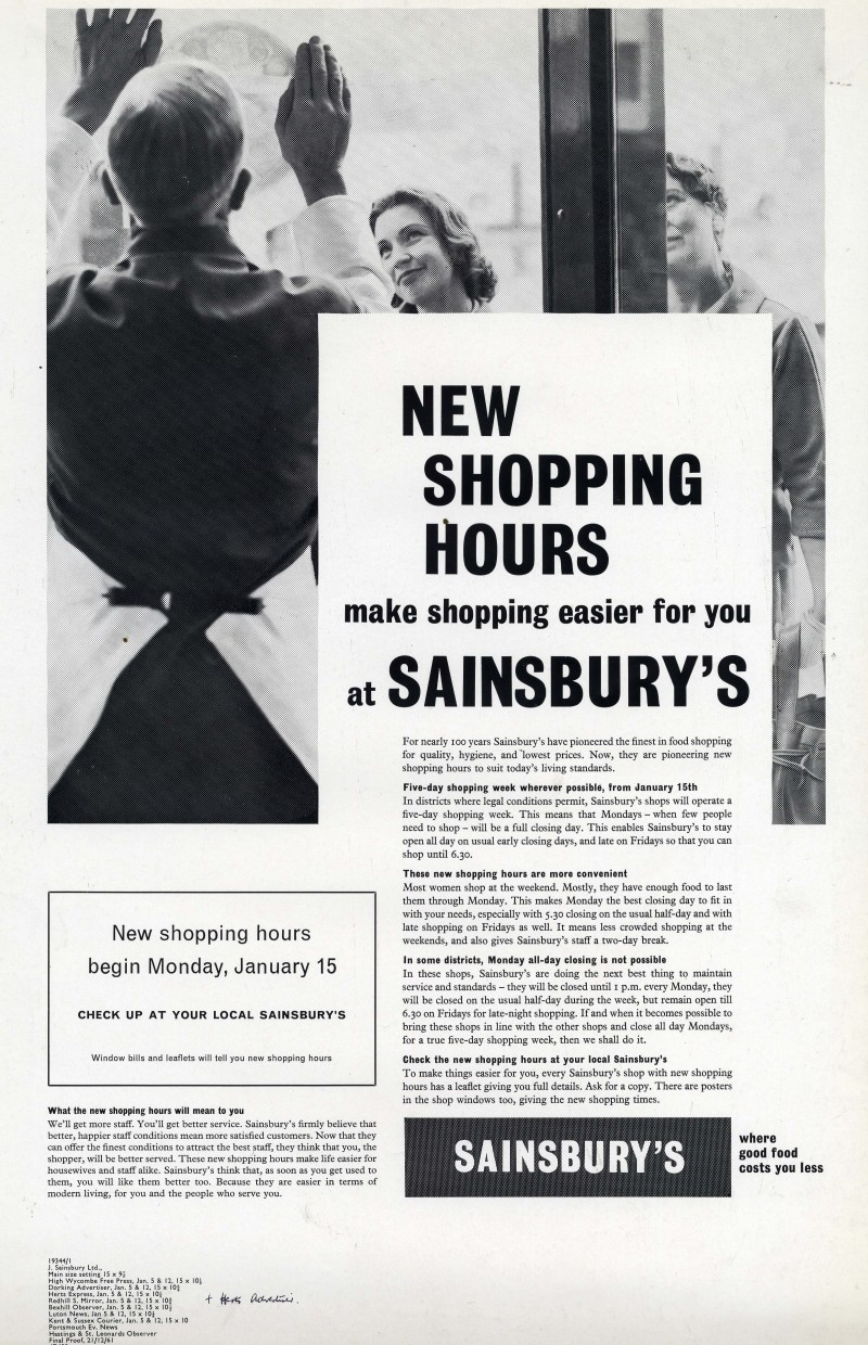 "SA/MARK/ADV/1/1/1/1/2/6/12 - ""New Shopping Hours"" advertisement proof, 21 Dec 1961"
