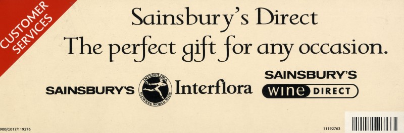 "SA/MARK/ADV/2/2/12/1/2 - ""Sainsbury's Direct: The perfect gift for any occasion"" barker card"