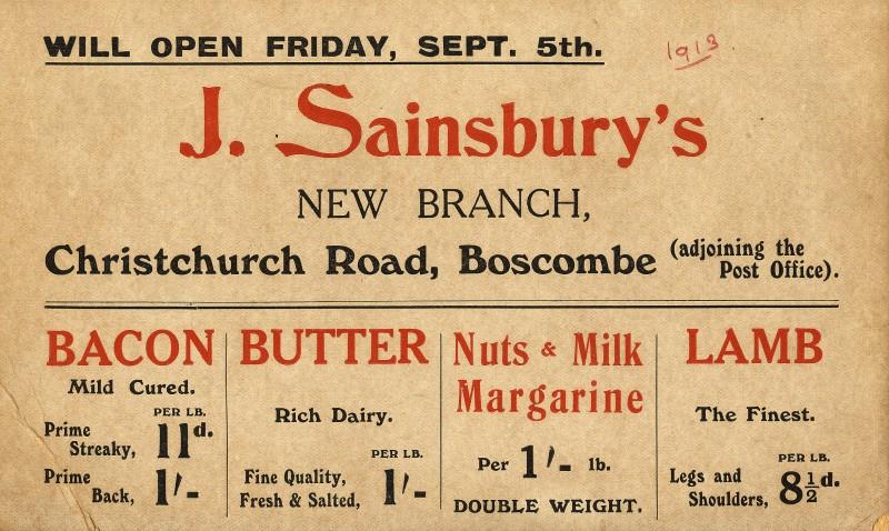 SA/MARK/ADV/2/4/1/1 - Show card advertising prices at Boscombe (Christchurch Road) branch