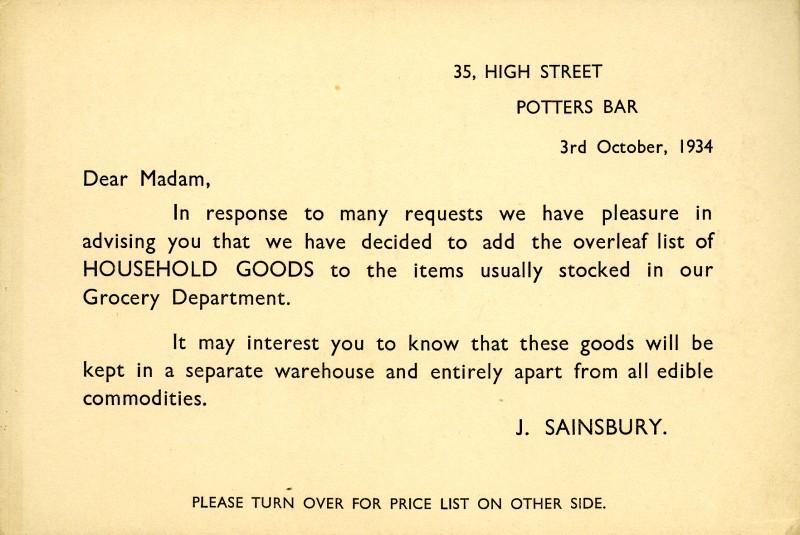 SA/MARK/ADV/3/3/3/12 - Household goods price list, 3 Oct 1934