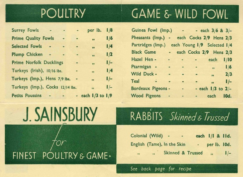 J Sainsbury Price List Of Seasonable Poultry Game Sa