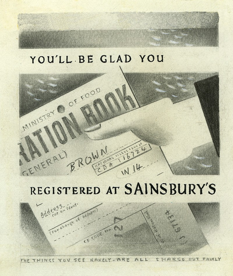 "SA/MARK/ADV/6/2/2/1 - ""You'll Be Glad You Registered at Sainsbury's"" poster artwork"