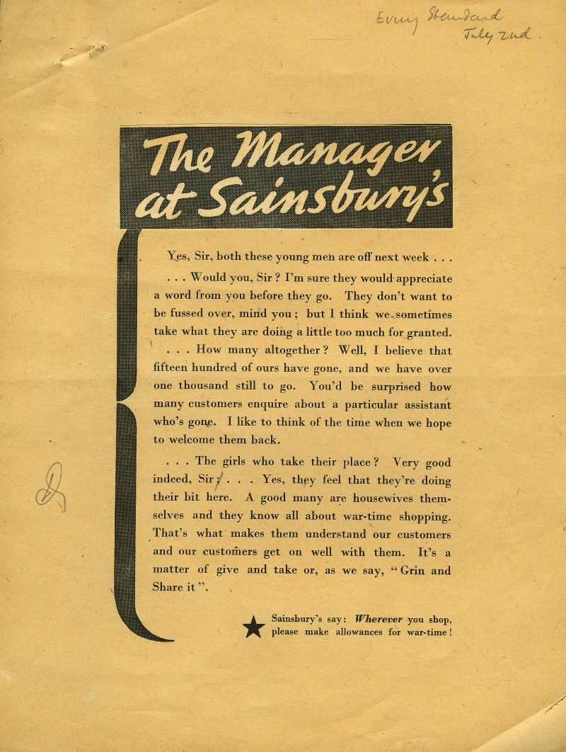 """SA/MARK/ADV/6/2/3/3 - """"The Manager at Sainsbury's"""" proof of newspaper advertisement"""