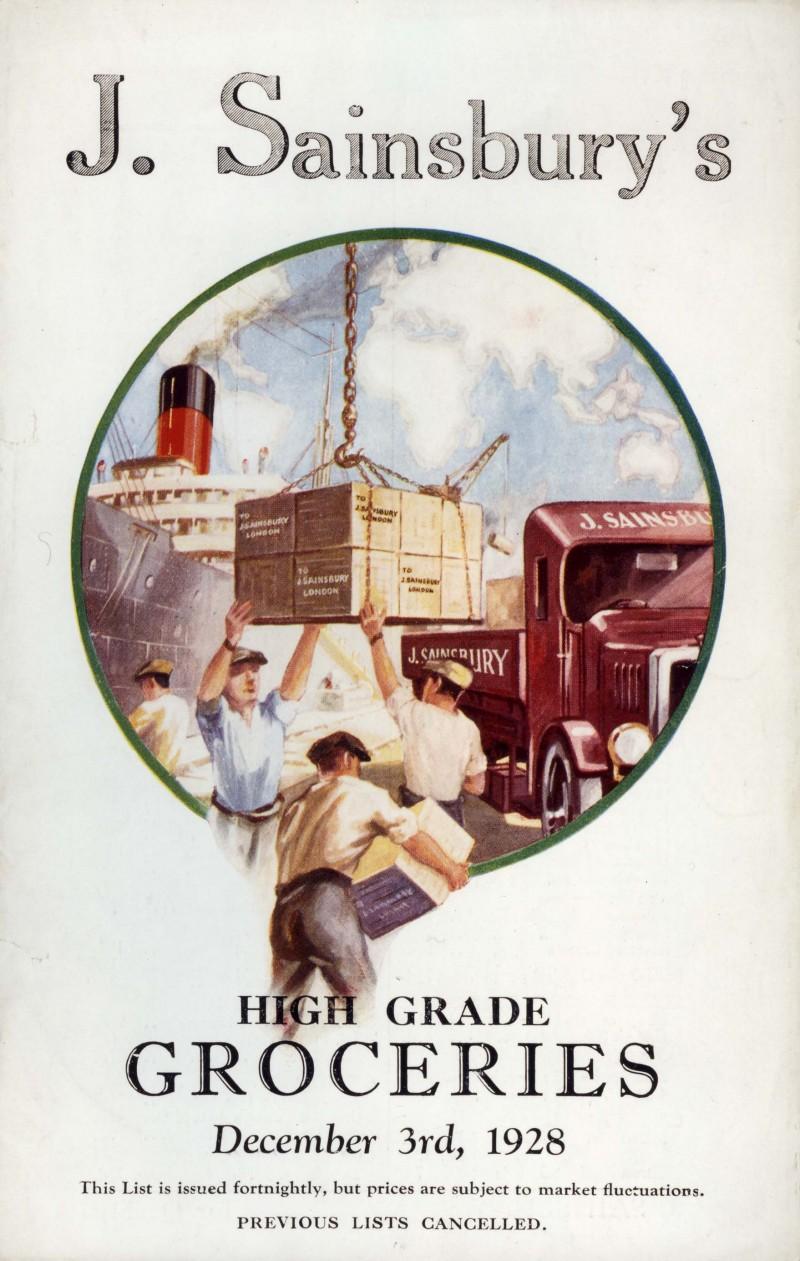 """SA/MARK/ADV/IMA/1/1/2 - Image of """"J. Sainsbury's High Grade Groceries"""" price list, 3 Dec 1928"""