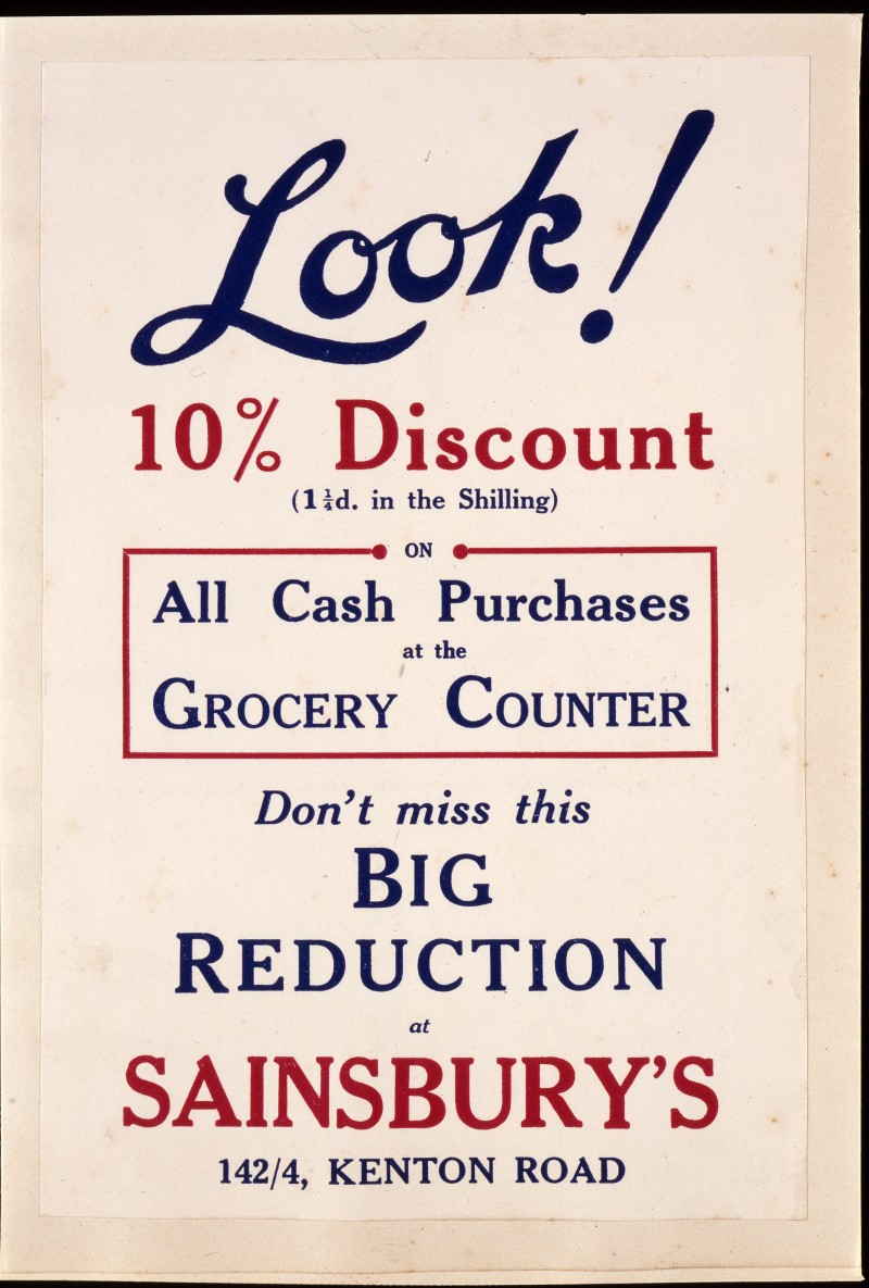 "SA/MARK/ADV/IMA/1/1/4 - Photograph (transparency) of ""Look 10% Discount"" (142/4 Kenton Road branch) advertisement"