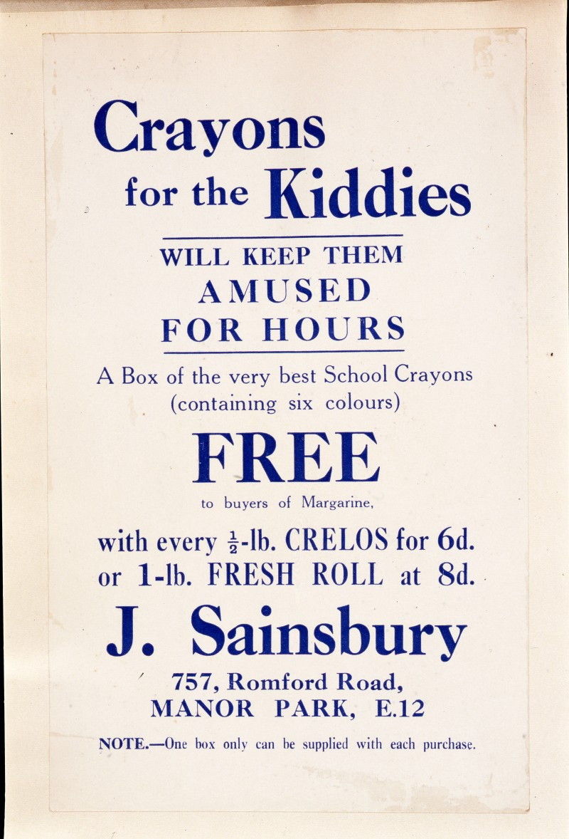 "SA/MARK/ADV/IMA/1/1/8 - Photograph (transparency) of ""Crayons for the Kiddies"" advertisement for 757 Romford Road, Manor Park branch"