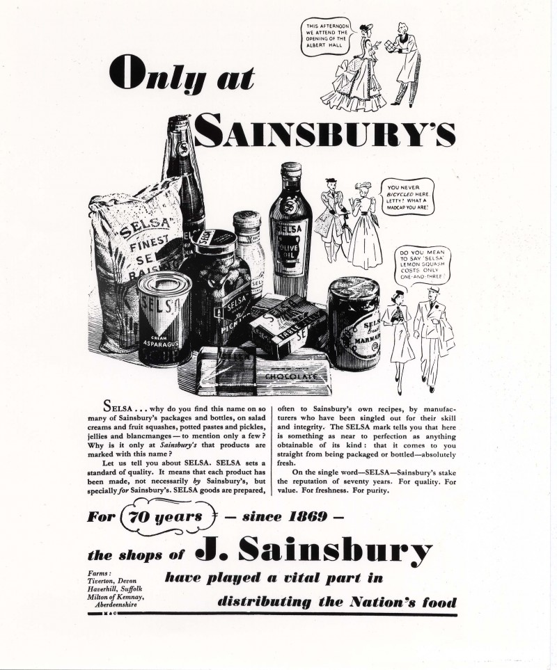"SA/MARK/ADV/IMA/3/2/4/2 - Image of ""Only at Sainsbury's"" Selsa brand advertisement"