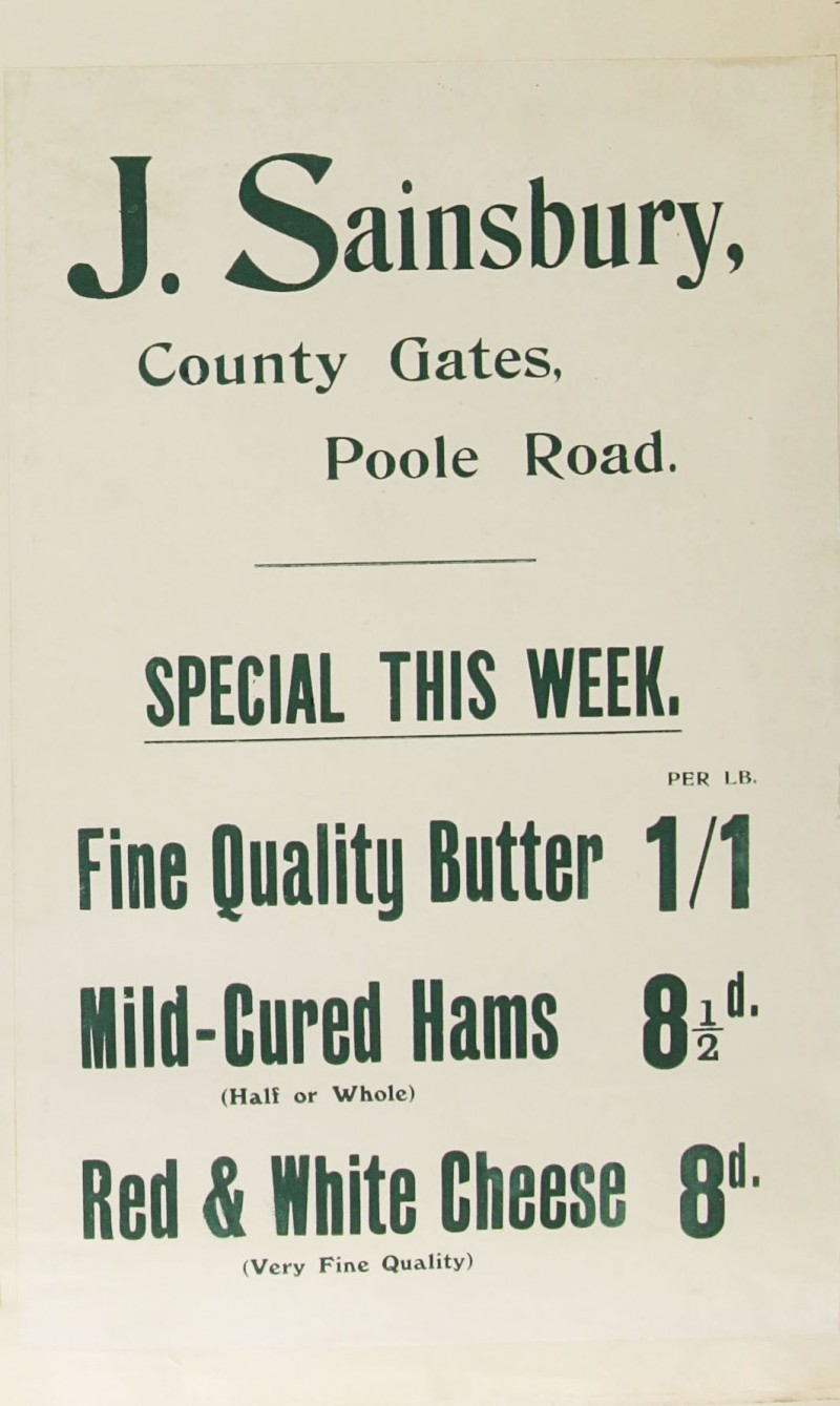 SA/MARK/ADV/1/1/1/1/1/6/1/134 - Paper advert for Butter, Ham and Cheese, 1912