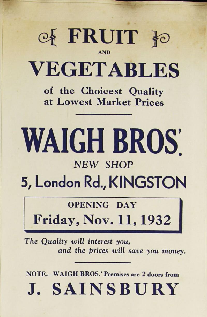 SA/MARK/ADV/1/1/1/1/1/9/101 - Waigh Bros. new shop near Sainsbury's advert, 1932