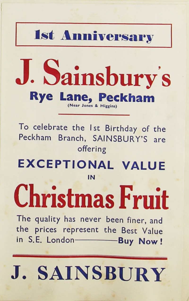 SA/MARK/ADV/1/1/1/1/1/9/102 - '1st Anniversary' of the Peckham store at Rye Lane advert, 1932