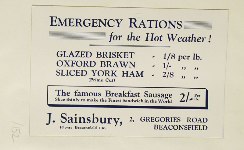SA/MARK/ADV/1/1/1/1/1/9/152 - 'Emergency Rations for the Hot Weather!' advert, c. 1934