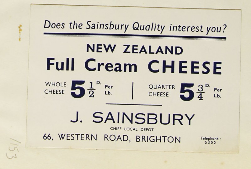 SA/MARK/ADV/1/1/1/1/1/9/153 - 'Does the Sainsbury Quality interest you?' New Zealand Cheese advert, c. 1934