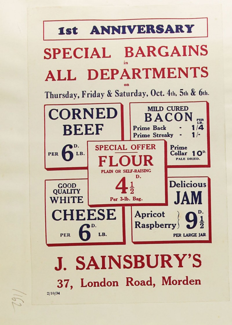 SA/MARK/ADV/1/1/1/1/1/9/162 - '1st Anniversary Special Bargains in All Departments' advert, 1934
