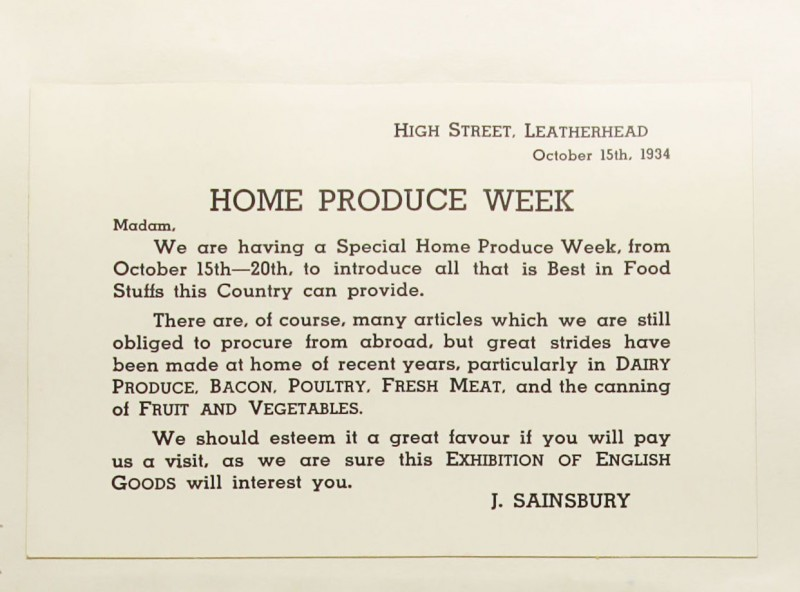 SA/MARK/ADV/1/1/1/1/1/9/166 - 'Home Produce Week' card, 1934