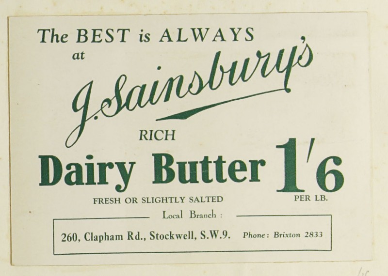 SA/MARK/ADV/1/1/1/1/1/9/16 - 'The Best is Always at J. Sainsbury's' Butter advert, c. 1920s