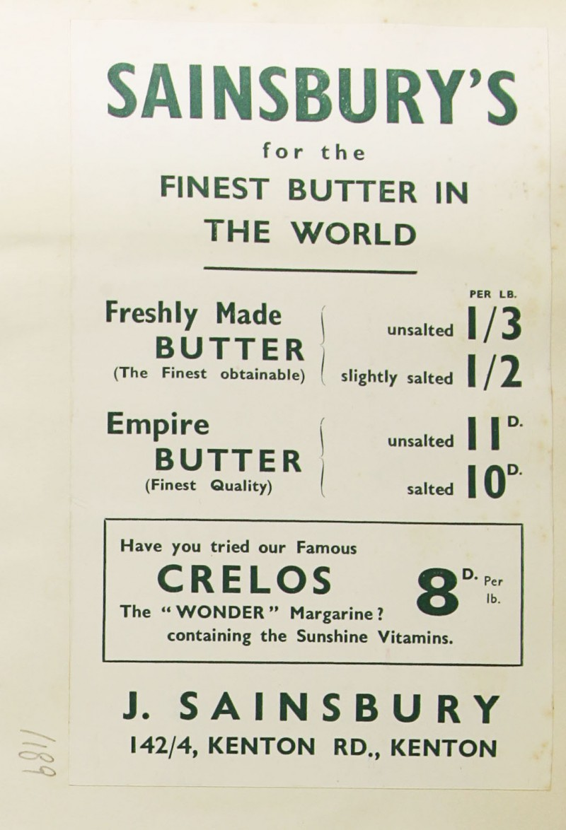 SA/MARK/ADV/1/1/1/1/1/9/189 - 'Sainsbury's for the Finest Butter in the World' advert, c. 1935
