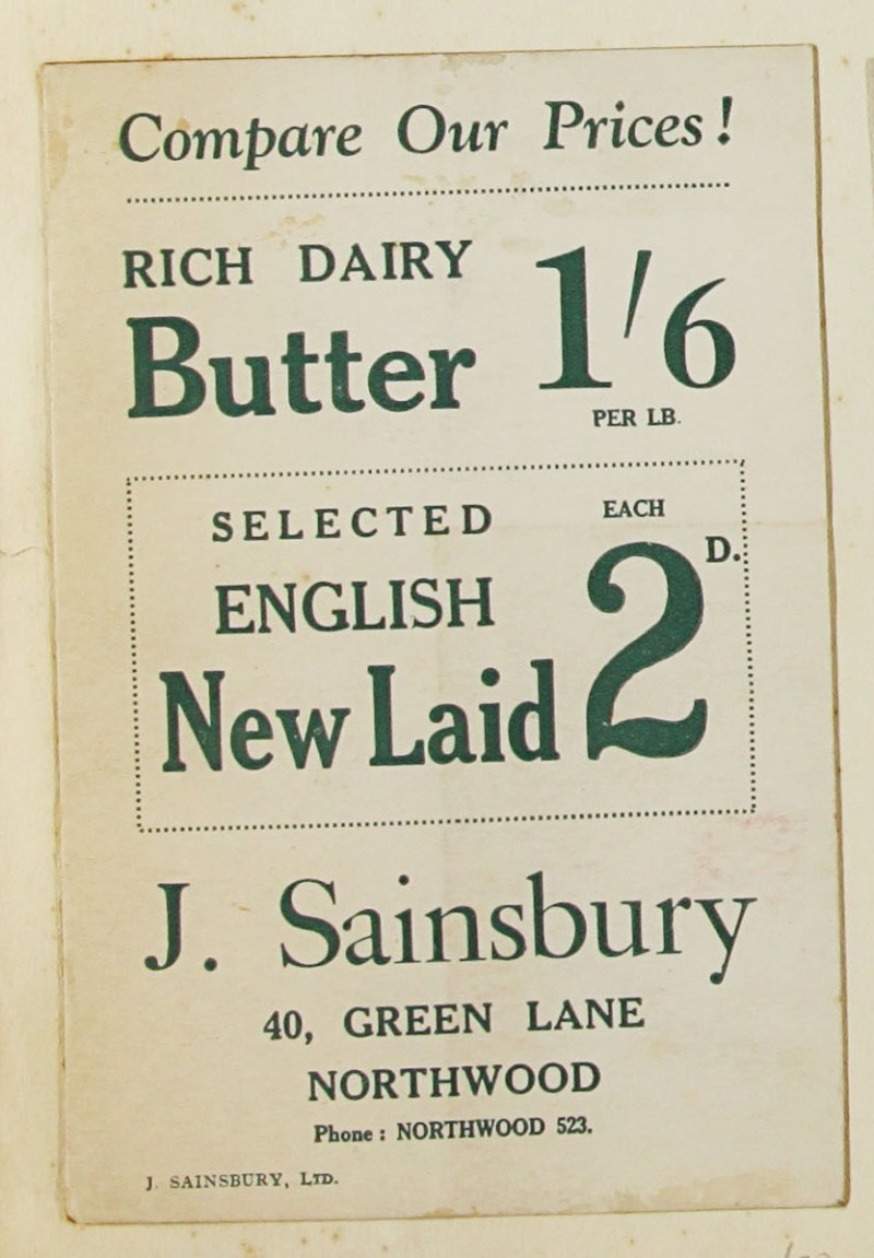 SA/MARK/ADV/1/1/1/1/1/9/20 - 'Compare Our Prices!' Butter and Eggs advert, c. 1920s