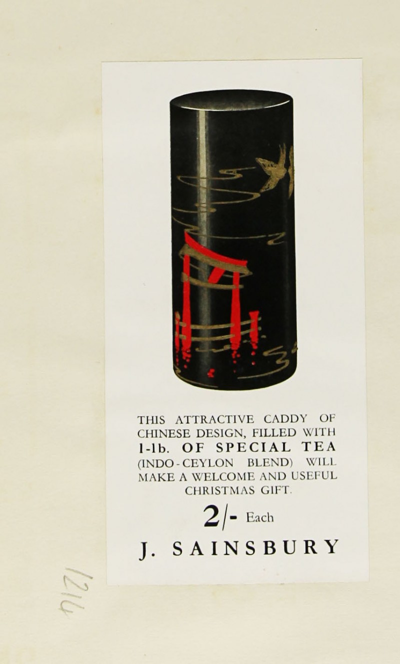 SA/MARK/ADV/1/1/1/1/1/9/214 - Chinese Design Tea Caddy advert, c. 1936