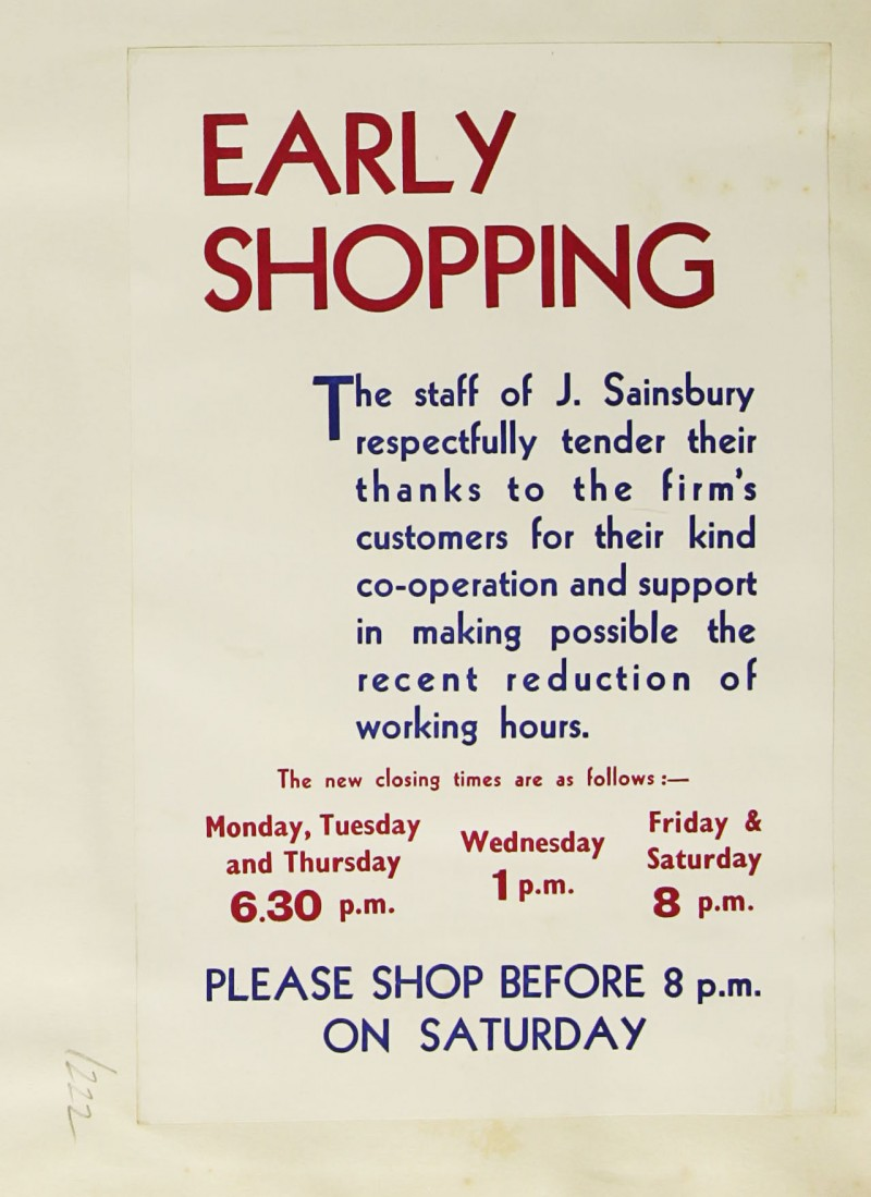 SA/MARK/ADV/1/1/1/1/1/9/222 - 'Early Shopping' advert, c. 1936