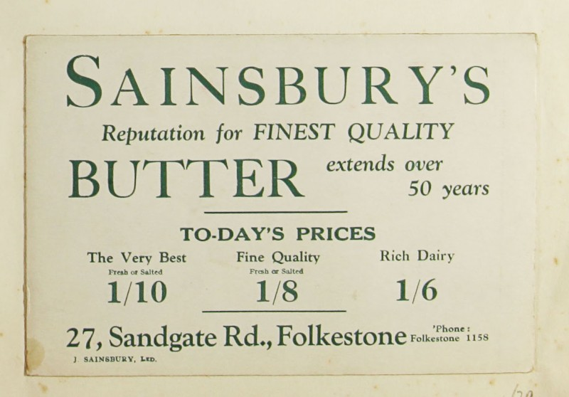 SA/MARK/ADV/1/1/1/1/1/9/29 - 'Sainsbury's Reputation for Finest Quality Butter' advert, c. 1920s