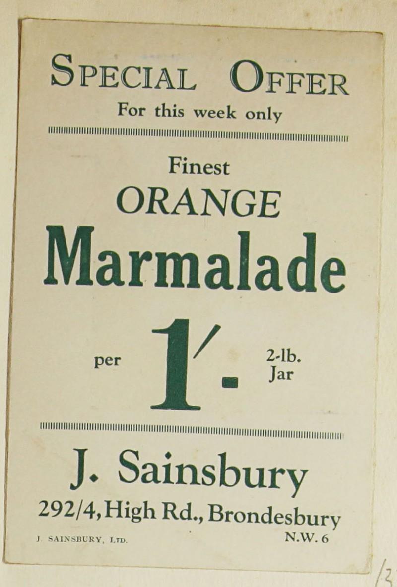 SA/MARK/ADV/1/1/1/1/1/9/33 - 'Finest Orange Marmalade' advert, c. 1920s-1930s