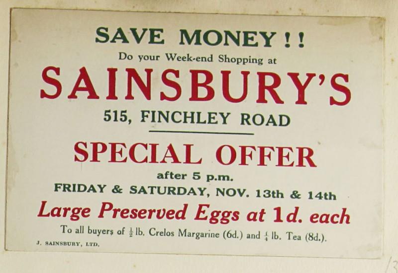 SA/MARK/ADV/1/1/1/1/1/9/37 - Sainsbury's 'Save Money!!' advert, c. 1920s - 1930s