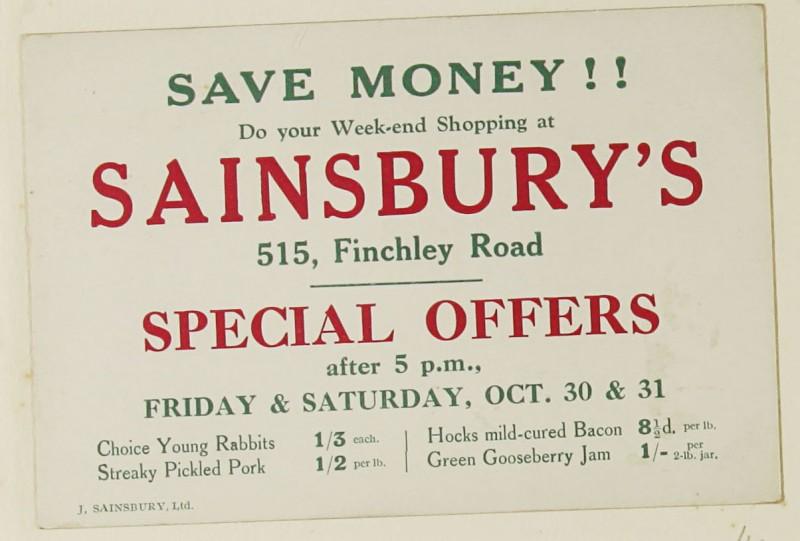 SA/MARK/ADV/1/1/1/1/1/9/41 - 'Save Money!! Do your Week-end Shopping at Sainsbury's' advert, c. 1920s-1930s