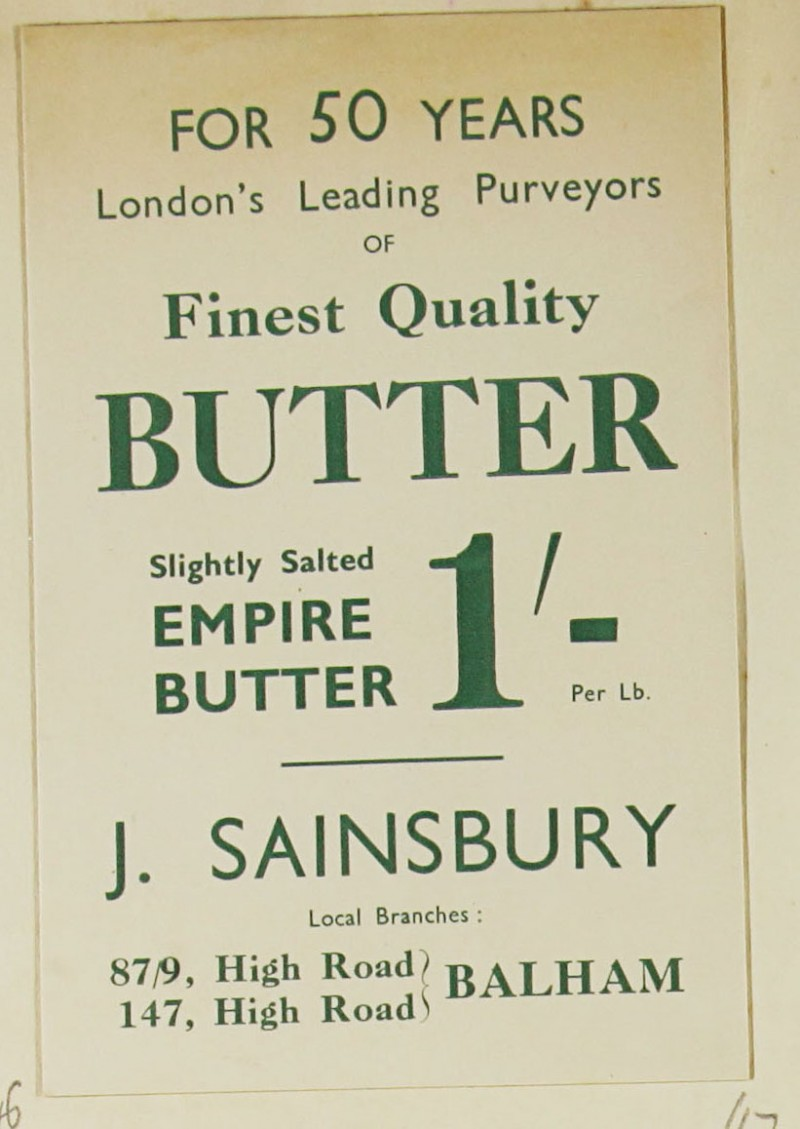 SA/MARK/ADV/1/1/1/1/1/9/47 - 'For 50 Years London's Leading Purveyors of Finest Quality Butter' advert, c. 1920s-1930s