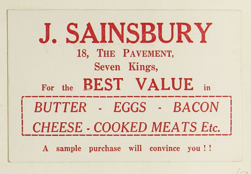 SA/MARK/ADV/1/1/1/1/1/9/50 - 'For the Best Value in Butter, Eggs, Bacon, Cheese, Cooked Meats Etc.' advert, c. 1920s-1930s