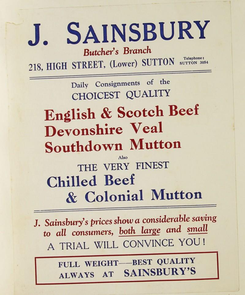 SA/MARK/ADV/1/1/1/1/1/9/87 - 'J. Sainsbury Butcher's Branch' advert, c. 1920s-1930s