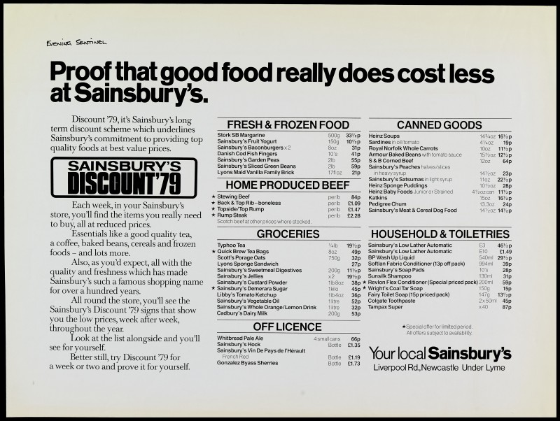 "SA/MARK/ADV/1/1/1/1/2/5/24 - ""Proof that good food really does cost less at Sainsbury's"" advertisement proof"