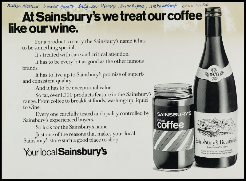 "SA/MARK/ADV/1/1/1/1/2/5/25 - ""At Sainsbury's we treat our coffee like our wine"" advertisement proof"