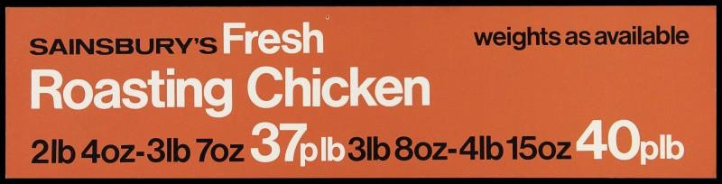 "SA/MARK/ADV/2/1/17/16 - ""Sainsbury's Fresh Roasting Chicken"" barker card (shelf edge label)"