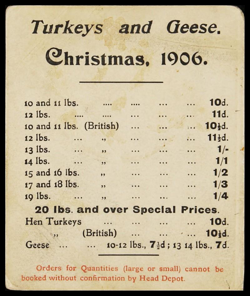 "SA/MARK/ADV/2/1/17/1 - Show card ""Turkeys and Geese Christmas 1906"""