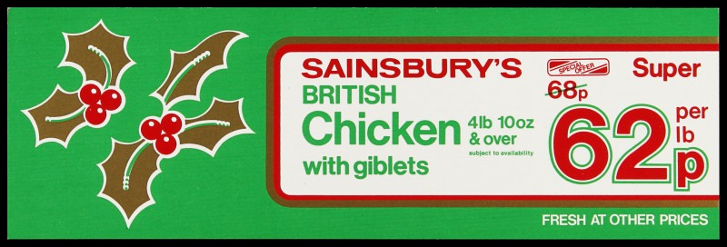"""SA/MARK/ADV/2/1/17/20 - """"Sainsbury's British Chicken with giblets"""" special offer barker card (shelf edge label)"""