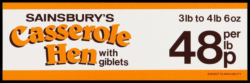 """SA/MARK/ADV/2/1/17/28 - """"Sainsbury's Casserole Hen with giblets"""" barker card (shelf edge label)"""