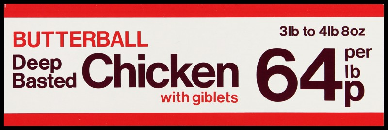 """SA/MARK/ADV/2/1/17/31 - """"BUTTERBALL Deep Basted Chicken with giblets"""" barker card (shelf edge label)"""
