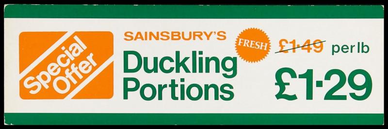 "SA/MARK/ADV/2/1/17/44 - ""Special Offer: Sainsbury's Ducking Portions"" barker card (shelf edge label)"