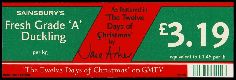 "SA/MARK/ADV/2/1/17/45 - ""Sainsbury's Fresh Grade 'A' Duckling"" barker card (shelf edge label)"