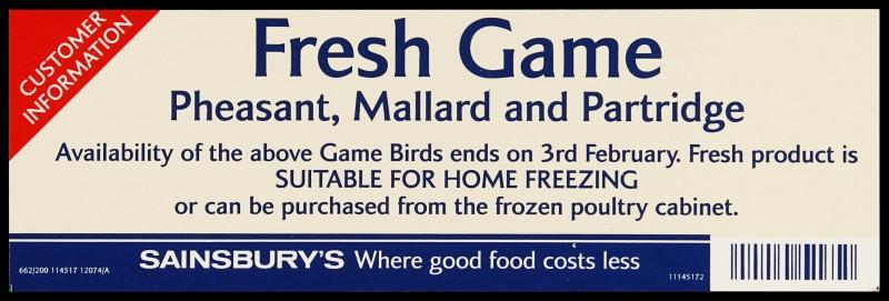 "SA/MARK/ADV/2/1/17/52 - ""Fresh Game: Pheasant, Mallard and Partridge"" customer information barker card (shelf edge label)"