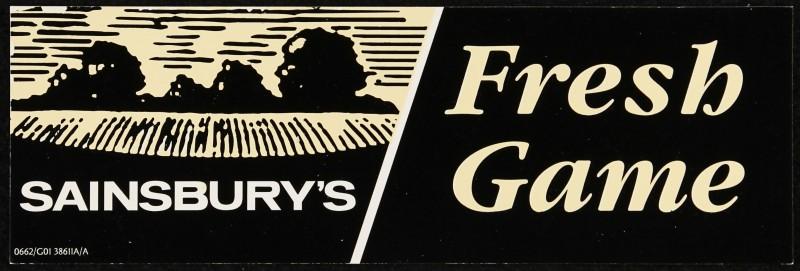 "SA/MARK/ADV/2/1/17/56 - ""Sainsbury's Fresh Game"" barker card (shelf edge label)"
