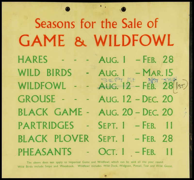 SA/MARK/ADV/2/1/17/6 - 'Seasons for the sale of game and wildfowl' notice