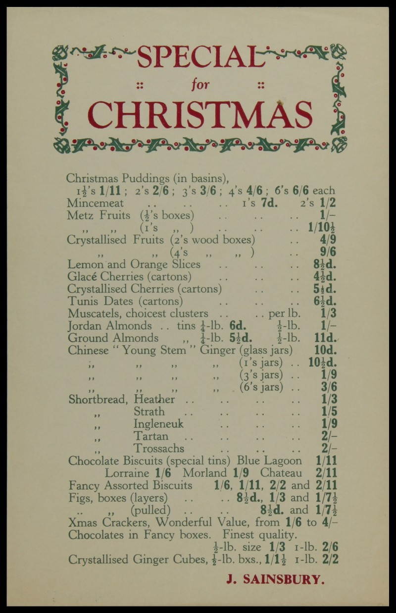 SA/MARK/ADV/3/3/6/1/22 - 'Special for Christmas' price list, [1930s-1950s]
