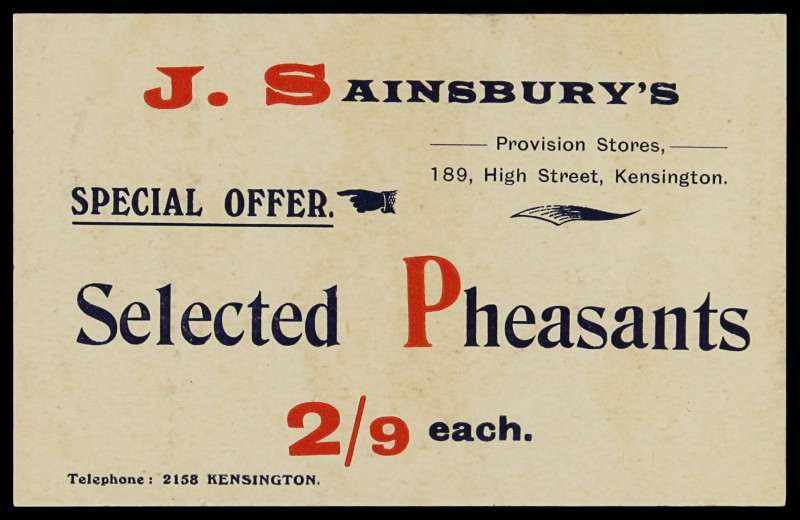 SA/MARK/ADV/3/3/7/1 - 'Special Offer Selected Pheasants' (price card for 189 High Street Kensington)