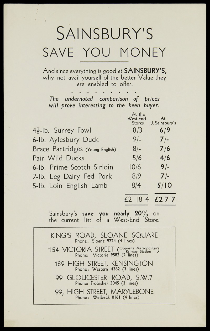 SA/MARK/ADV/3/3/7/2 - 'Sainsbury's Save You Money' meat and poultry price list, 1930-33